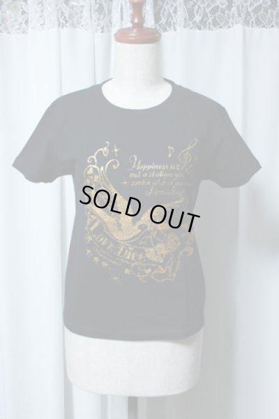 画像1: 【ガールズSサイズ】スワロープリントTシャツ【黒×ゴールドプリント】