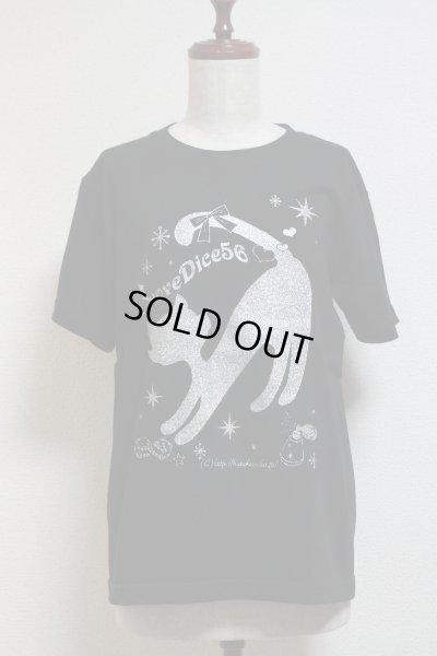 画像1: DiceCat Tシャツ【黒×シルバーラメプリント/Sサイズ】