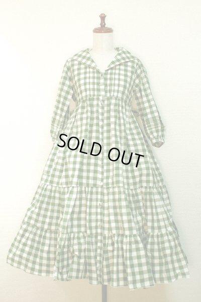 画像1: 【Sale50%OFF】セーラー衿3段ティアードOP【緑チェック】