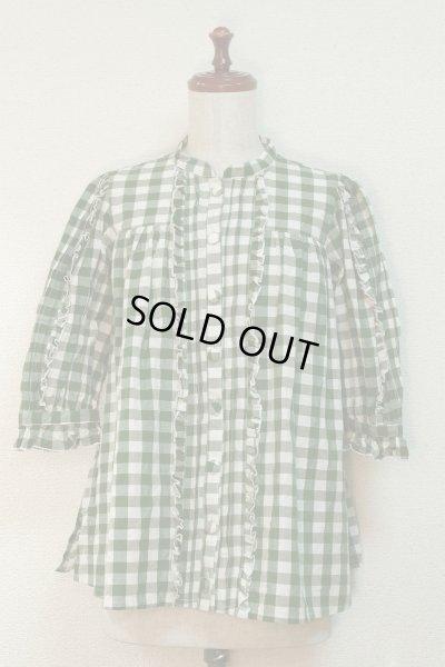 画像1: 【Sale50%OFF】スタンドカラー七分袖BL【緑チェック】
