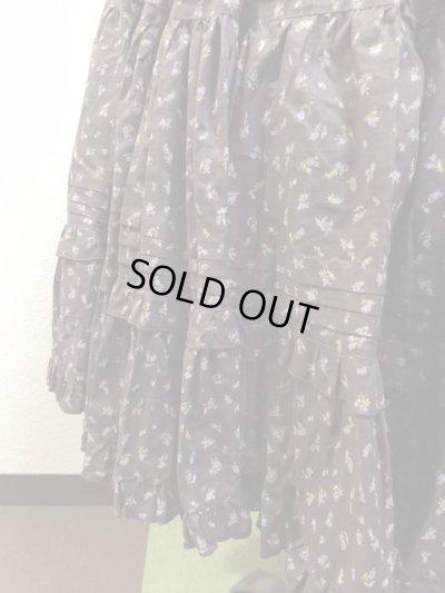 画像3: 【Sale50%OFF】ポケット付きピンタックティアードスカート【茶色小花柄】