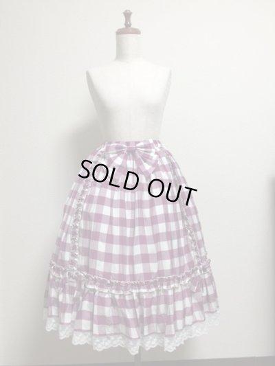 画像1: 【Sale50%OFF】シフォンリボンスカート【ラズベリーチェック】