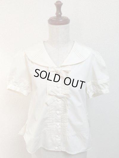 画像1: 【Sale50%OFF】半袖セーラーブラウス【生成無地】