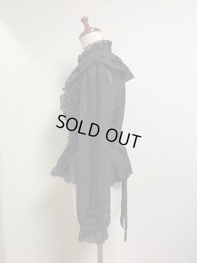画像2: ケープ衿付きスタンドカラーブラウス(長袖)【黒】