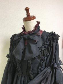 他の写真2: ケープ衿付きスタンドカラーブラウス(姫袖)【ボルドー】