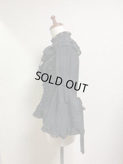 画像2: ケープ衿付きスタンドカラーブラウス(姫袖)【黒】