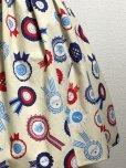 画像2: ハンドメイドギャザースカート【ロゼット柄・52cm丈】 (2)