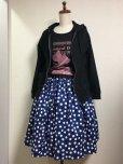 画像3: ハンドメイドギャザースカート【青×白水玉×猫・57cm丈】  (3)