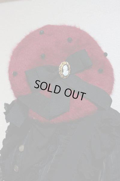 画像1: ベレー帽【赤×黒リボン】