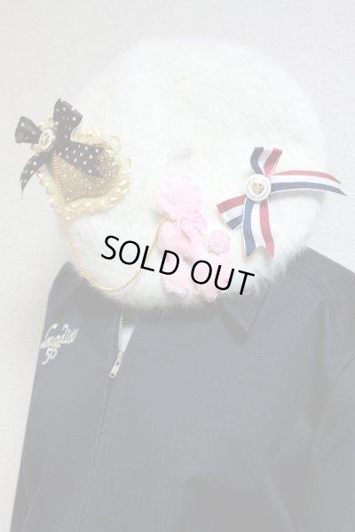 画像1: ベレー帽【白×トリコロールリボン】