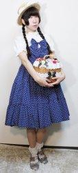画像1: 【Sale 50% OFF】ティアードサンドレス【紺水玉×オフ白レース】 (1)