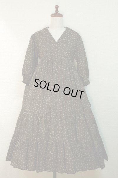 画像1: 【Sale50%OFF】セーラー衿3段ティアードOP【茶色小花柄】