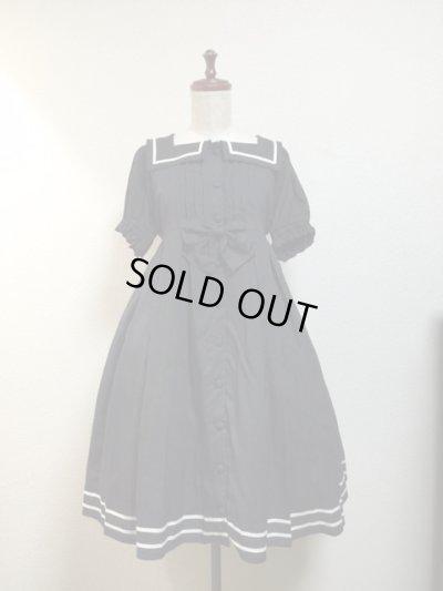 画像1: 【Sale30%OFF】スクエア衿のマリンワンピース【黒ドット×白ライン】
