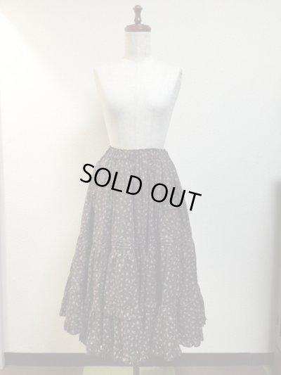 画像4: 【Sale50%OFF】ポケット付きピンタックティアードスカート【茶色小花柄】