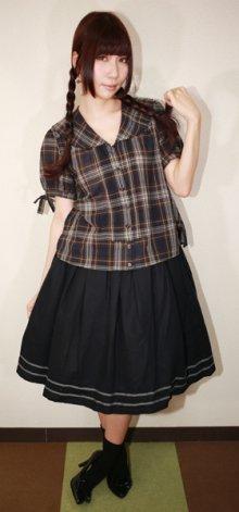 他の写真1: 【Sale30%OFF】ポケット付きセーラースカート【黒×グレーライン】