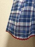 画像2: ハンドメイドギャザースカート【青系チェック柄・63cm丈】 (2)