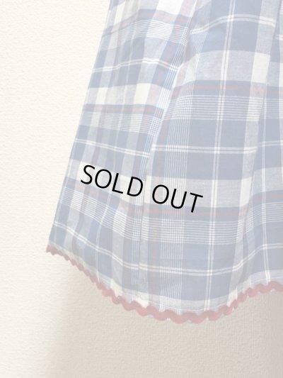 画像2: ハンドメイドギャザースカート【青系チェック柄・63cm丈】