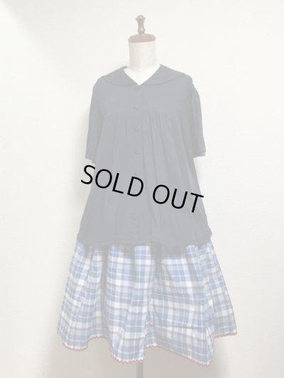 画像3: ハンドメイドギャザースカート【青系チェック柄・63cm丈】
