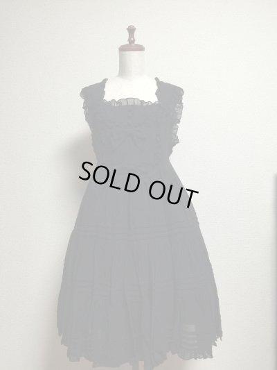 画像1: ピンタックリボンリボンジャンパースカート【黒シフォン】