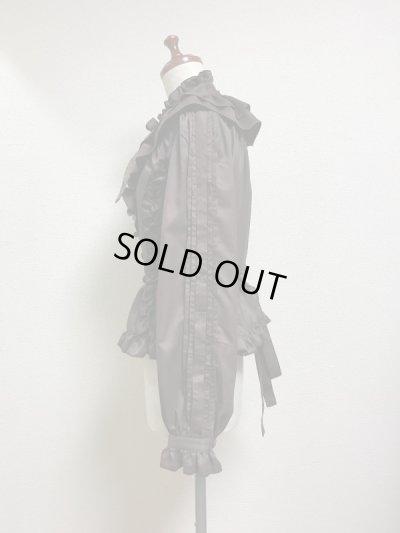 画像2: 【50%オフ】ケープ衿付きスタンドカラーブラウス(長袖)【茶】