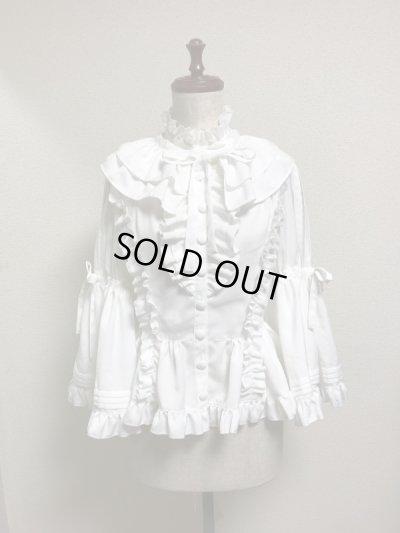画像1: 【50%オフ】ケープ衿付きスタンドカラーブラウス(姫袖)【白】