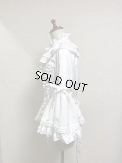画像2: 【50%オフ】ケープ衿付きスタンドカラーブラウス(姫袖)【白】