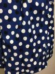 画像2: ハンドメイドギャザースカート【青×白水玉×猫・57cm丈】  (2)