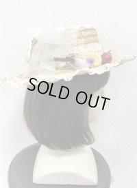 【30%OFF】麦わらフリル帽子【小花柄リボン×生成レース】