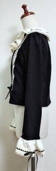 画像2: ハンドメイドはしごレースカーディガン【黒×生成】 (2)