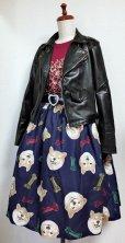 画像2: ハンドメイドギャザースカート【柴犬柄・紺系・66cm丈】  (2)