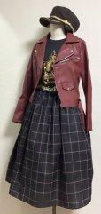 画像3: ハンドメイドギャザースカート【チェック柄・黒系・70c丈】 (3)
