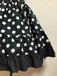 画像2: ハンドメイド3段ティアードスカート【黒×白水玉・53c丈】 (2)