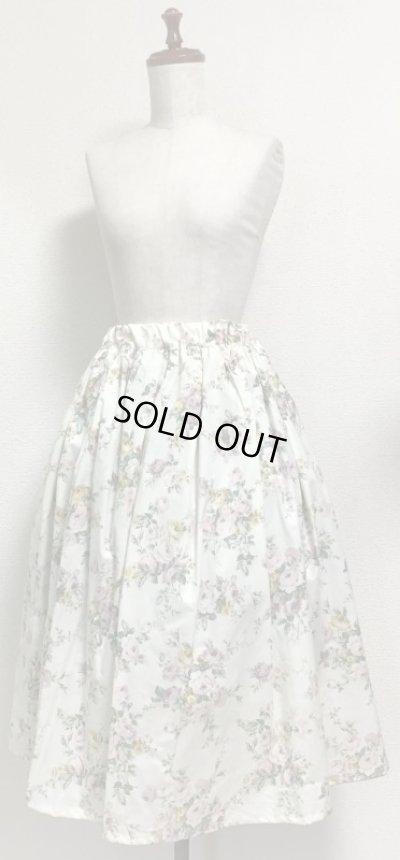 画像1: 【均一SALE】ハンドメイドギャザースカート【花柄・白系・70c丈】