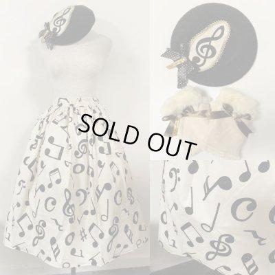画像1: 【新春企画】スカート+ベレー+手袋セット【生成り音符セット・スカート70c丈】