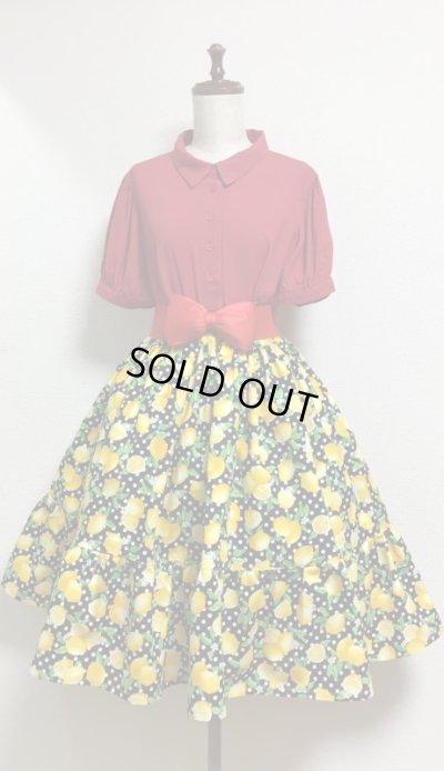 画像1: ハンドメイドギャザースカート【レモン柄・黒系・60c丈】