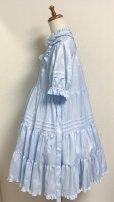 画像8: 小公女3段ティアードドレス【ツヤ水色ストライプ(やや薄手生地】