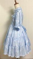 画像4: 小公女3段ティアードドレス【ツヤ水色ストライプ(やや薄手生地】