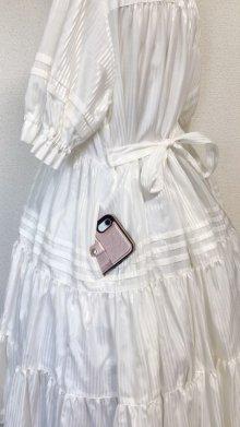他の写真1: 小公女3段ティアードドレス【ツヤ白ストライプ(やや薄手生地】