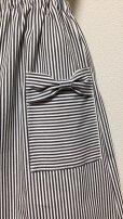画像3: ハンドメイドギャザースカート【ストライプデニム・61c丈】 (3)