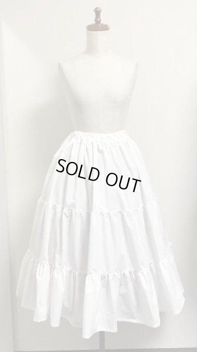 画像1: 3段ティアードスカート【ミディアム丈70cm丈・白×シルバーラメストライプ】