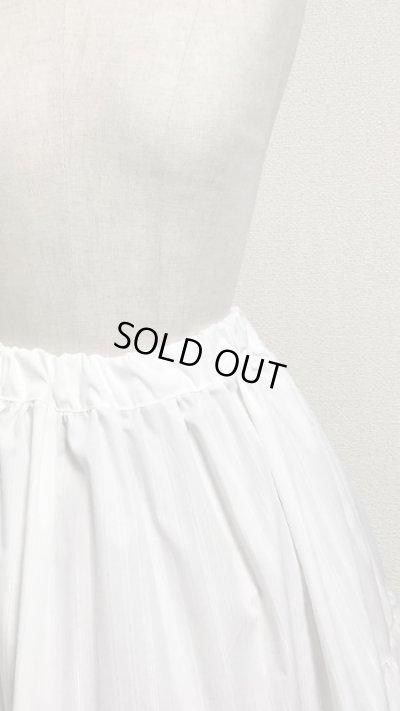 画像2: 3段ティアードスカート【ミディアム丈70cm丈・白×シルバーラメストライプ】
