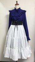 画像4: 3段ティアードスカート【ミディアム丈70cm丈・白×シルバーラメストライプ】 (4)