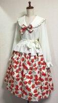 画像2: ハンドメイドギャザースカート【イチゴ柄・白・67丈】 (2)