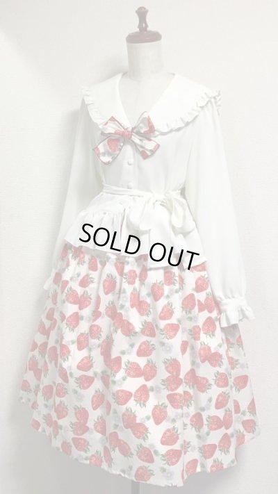画像2: ハンドメイドギャザースカート【イチゴ柄・白・67丈】