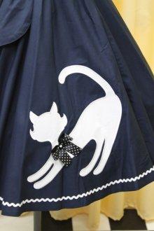 他の写真1: ねこアップリケサーキュラースカート(紺系)